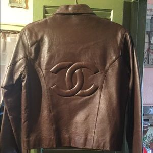 Vintage Luxury Designer C Leather Jkt